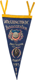 "Political:Textile Display (1896-present), Woodrow Wilson: 1913 Inaugural Pennant. 23"" x ..."
