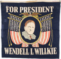 Political:Textile Display (1896-present), Wendell Willkie: Colorful Portrait Banner.. ...