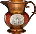 Political:3D & Other Display (pre-1896), Marquis de Lafayette: Large Copper Luster Pitcher. ...