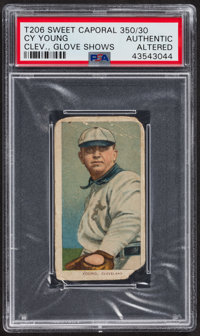 1909-11 T206 Sweet Caporal 350/30 Cy Young (Glove Shows) PSA Authentic - Altered
