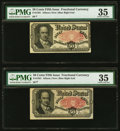 Fractional Currency:Fifth Issue, Fr. 1381 50¢ Fifth Issue Two Examples PMG Choice Very Fine 35 .. ... (Total: 2 notes)