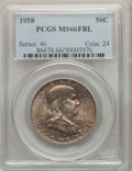 Franklin Half Dollars, 1958 50C MS66 Full Bell Lines PCGS. PCGS Population: (388/21). NGC Census: (123/4). CDN: $180 Whsle. Bid for problem-free N...