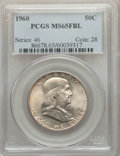 Franklin Half Dollars, 1960 50C MS65 Full Bell Lines PCGS. PCGS Population: (1105/98). NGC Census: (182/3). CDN: $150 Whsle. Bid for problem-free ...