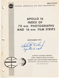 "Explorers:Space Exploration, Charlie Duke Signed NASA Original ""Apollo 16 Index of 70mm Photographs and 16mm Film Strips"" Book, MSC-07252, Dated November 1..."