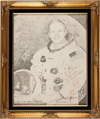 Neil Armstrong Signed Large White Spacesuit Art Print Inscribed to His Brother and Family, in Framed Display, Directly f...
