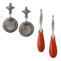 Estate Jewelry:Earrings, Diamond, Coral, Moonstone, White Gold Earrings. ... (Total: 2 Items)