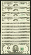 Fr. 1983-L* $5 1993 Federal Reserve Star Notes. Nineteen Examples. Choice Crisp Uncirculated