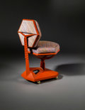 Furniture , Frank Lloyd Wright (American, 1867-1959). Desk Chair from Price Tower, Bartlesville, Oklahoma, 1956. Cast metal, fabric ...