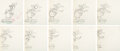 Animation Art:Production Drawing, The Hockey Champ Donald Duck Animation Drawings Sequence of 10 (Walt Disney, 1939).... (Total: ...