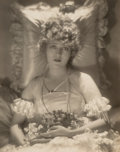 Photographs:Gelatin Silver, Baron Adolf de Meyer (French, 1868-1949). Mary Pickford in her Wedding Dress, 1920. Gelatin silver. 9-1/4 x 7-3/8 inches...