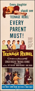 "Movie Posters:Drama, Teenage Rebel & Other Lot (20th Century Fox, 1956). Rolled, Overall: Very Fine-. Inserts (3) (14"" X 36""). Drama.. ... (Total: 3 Items)"