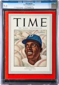 Baseball Collectibles:Publications, 1947 Jackie Robinson Time Magazine CGC 9.0....