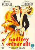 "Movie Posters:Comedy, My Man Godfrey (Universal, 1936). Fine/Very Fine on Linen. Swedish One Sheet (27.5"" X 39.5""). Fuchs Artwork.. ..."
