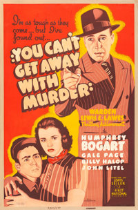 """You Can't Get Away with Murder (Warner Bros.-First National, 1939). Very Fine- on Linen. Silk Screen Poster (40"""" X..."""