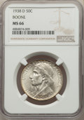 Commemorative Silver, 1938-D 50C Boone MS66 NGC. NGC Census: (122/34). PCGS Population: (198/83). CDN: $500 Whsle. Bid for problem-free NGC/PCGS ...
