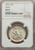 Commemorative Silver, 1937-S 50C Texas MS67 NGC. NGC Census: (103/9). PCGS Population: (132/1). CDN: $400 Whsle. Bid for problem-free NGC/PCGS MS...