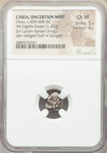 Ancients:Greek, Ancients: CARIA. Uncertain mint. Uvug or Orou (ca. 450-440 BC). AR 1/8 stater or obol (12mm, 1.42 gm, 12h). NGC Choice VF 5/5 - 4/5....