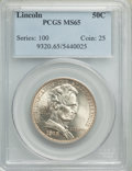 1918 50C Lincoln MS65 PCGS. PCGS Population: (1362/700). NGC Census: (1118/364). MS65. Mintage 100,058