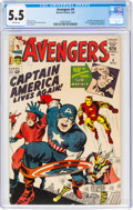 Silver Age (1956-1969):Superhero, The Avengers #4 (Marvel, 1964) CGC FN- 5.5 White pages....