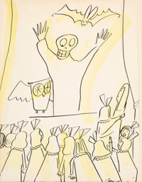 Ludwig Bemelmans (American, 1898-1962) The Ghost, Madeline and The Bad Hat preliminary illustration, ci