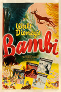 "Movie Posters:Animation, Bambi (RKO, R-1948). Fine on Linen. One Sheet (27"" X 41""). . ..."