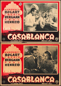 "Casablanca (Warner Bros., 1946). Very Fine-. First Post-War Release Italian Photobustas (2) (19.25"" X 13.5"")..."