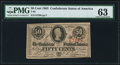 Confederate Notes:1863 Issues, T63 50 Cents 1863 PF-3 PMG Choice Uncirculated 63.. ...