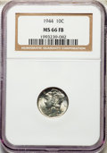 Mercury Dimes, 1941-S 10C MS66 Full Bands NGC. This lot also include a: 1944 10C MS66 Full Bands NGC.... (Total: 2 coins)