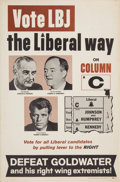 Political:Posters & Broadsides (1896-present), Johnson & Humphrey & Kennedy: New York Liberal Party Trigate Poster. . ...