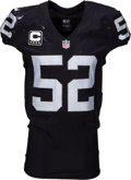 Football Collectibles:Uniforms, 2016 Khalil Mack Game Worn & Signed Oakland Raiders Jersey - Photo Matched to 12-24 vs. Colts. ...