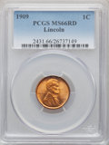 Lincoln Cents, 1909 1C MS66 Red PCGS. PCGS Population: (556/77). NGC Census: (190/6). CDN: $225 Whsle. Bid for problem-free NGC/PCGS MS66....