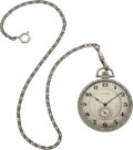 "Timepieces:Pocket (post 1900), Waltham Platinum ""Opera"" Watch, Platinum Chain. ..."