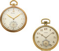 Timepieces:Pocket (post 1900), Longines 14k Green Gold & C.H. Meylan 18k Yellow Gold Watches. ... (Total: 2 Items)