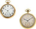 Timepieces:Pocket (post 1900), Waltham 14k Gold Riverside With Masonic Dial, Elgin 14k Gold 12 Size. ... (Total: 2 Items)