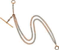 Rose & White Gold Double Strand Watch Chain