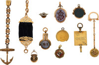Eleven Watch Fobs/Keys, Eight Gold, Three Gilt ... (Total: 11 Items)