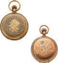 Timepieces:Pocket (pre 1900) , Elgin & Waltham, Two 10k Gold Ornate 6 Size Hunters. ... (Total: 2 Items)
