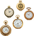 Timepieces:Pocket (post 1900), Five Ladies Gold Pendant Watches. ... (Total: 5 Items)
