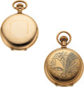Timepieces:Pocket (post 1900), Waltham & Elgin 14k Gold 6 Size Hunters. ... (Total: 2 Items)
