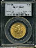 Liberty Eagles: , 1907-D $10 MS63 PCGS....