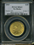 Indian Eagles: , 1907 $10 No Motto MS62 PCGS....