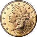 Liberty Double Eagles, 1877 $20 MS61 Prooflike PCGS....