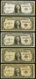 Small Size:World War II Emergency Notes, Fr. 2300 $1 1935A Hawaii Silver Certificates. Five Examples. Very Good or Better;. Fr. 2302 $5 1934A Hawaii Federal Reserv... (Total: 10 notes)