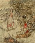 Works on Paper, Arthur Rackham (British, 1867-1939). The Peasant Story Teller. Watercolor and ink on board. 8-3/4 x 7 inches (22.2 x 17....
