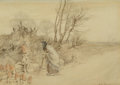 Works on Paper, Arthur Rackham (British, 1867-1939). A Wayside Chat, 1917. Watercolor on paper. 7-1/2 x 10-3/8 inches (19.1 x 26.4 cm) (...