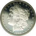 Proof Morgan Dollars: , 1892 $1 PR67 Cameo NGC. An impeccable cameo proof that displays a glassy, untoned appearance with little of the often...