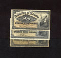 Canadian Currency:Series 472, Three Different 1900 Shinplasters.. DC-15a 25¢ 1900 Fine+. DC-15b 25¢ 1900 VF. DC-15c 25¢ 1900 VG... (Total: 3 notes Item)
