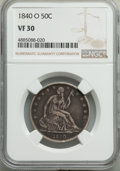 Seated Half Dollars, 1840-O 50C VF30 NGC. NGC Census: (7/102). PCGS Population: (28/200). CDN: $180 Whsle. Bid for problem-free NGC/PCGS VF30. M...