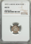 Seated Half Dimes, 1872-S H10C Mintmark Above Bow AU55 NGC. NGC Census: (9/153). PCGS Population: (19/227). AU55. . From The Poulos Fa...