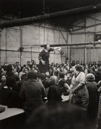 Willy Ronis (French, 1910-2009) Shop Steward Rose Zehner Addressing Workers During the Strike at Citroën, Javel